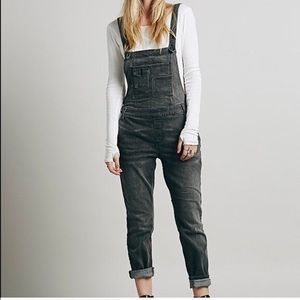 Free People Distressed Gray Denim Overalls Size 30